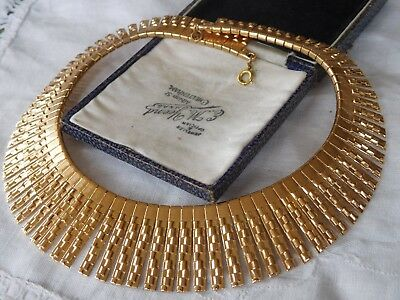 Gorgeous Vintage 1960s HUGE Gold CLEOPATRA Collar Necklace