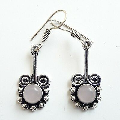 Delicate Oxidized Silver Plated Flower Earring with Rose Quartz