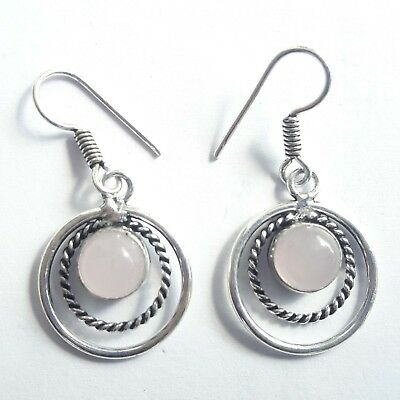Delicate Oxidized silver Plated Double Hoop Earrings with Rose Quartz