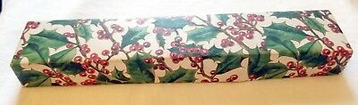 Bright, outstanding Holly themed Rectangular Christmas Gift Box. Early 1900s USA