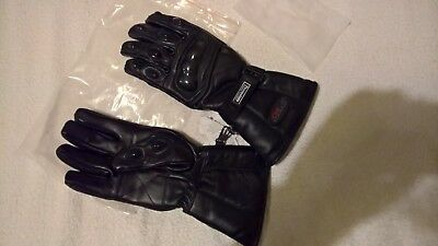 Black Speed Max Mens Thermal Motorcycle Winter Textile Leather Gloves - Small
