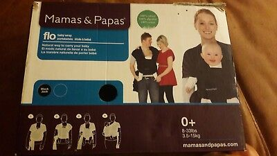 Mamas & Papas Flo 100% Cotton Baby Wrap / Carrier In Black Used Good Condition