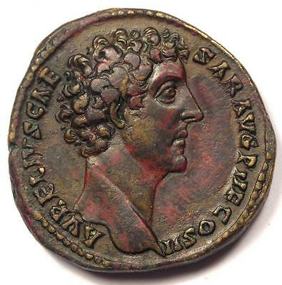 Roman Empire Marcus Aurelius AE Sestertius Coin 139-61 AD - Good Condition
