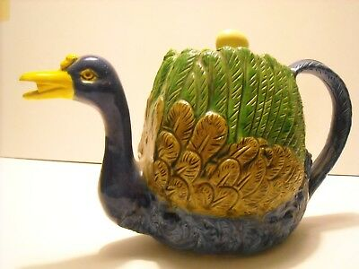 Vintage Teapot Made In Japan Duck And Cabbage Teapot Majolica