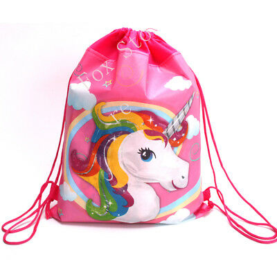 Unicorn Drawstring Backpack PE GYM Girls School Birthday Goody Party Bags