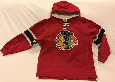 NHL CCM CHICAGO BLACKHAWKS Embroidered Hoodie Sweatshirt Youth Size 10-12
