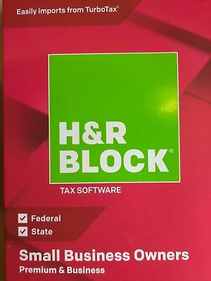 H&R Block Tax Software Small Business Owners 2018 CD or Download.
