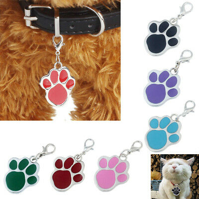Qa_ Charm Dog Cat Pet Tag Id Collar Tag Pendant Glitter Paw Print Pet Collar O