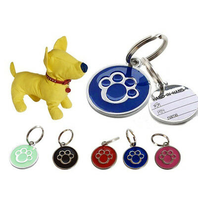 QA_ Anti-lost ENGRAVING Dog Cat ID Name Tag Disc Personalised Puppy Pet Tags E