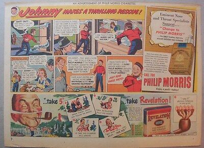 """Phillip Morris Cigarette Ad: """"Johnny"""" from 1940's Size: 11 x 15 inches"""