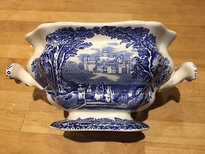 Vintage Mason's Ironstone Blue Vista Small Soup Or Sauce Tureen (Without Lid)