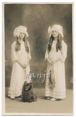 Girls w LONG HAIR in LACE DRESSES+HATS w SPITZ-POMERANIAN Dog*1907-18 RPPC Photo