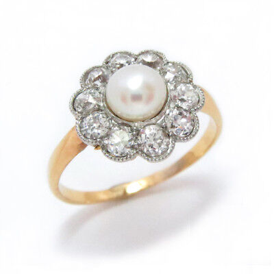 Antique 14 Kt Gold Ring Platinum Pearl Diamond Size 8.5 Edwardian