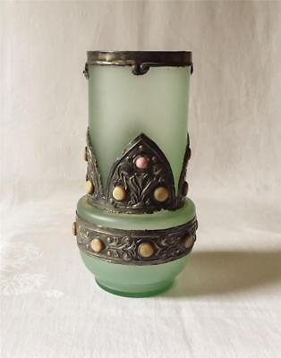 GOOD SIZED ANTIQUE ART DECO PEWTER AND MOP OVERLAID GREEN GLASS VASE c1920-30