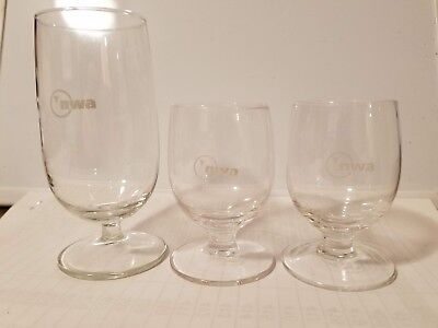 Lot of 3 Northwest Airlines In-flight Glassware