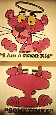 Lot of 2 Vintage Pink Panther I Am A Good Kid Sometimes Iron On Transfer