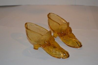 Vintage Pair Of Amber Glass Old Style Shoes