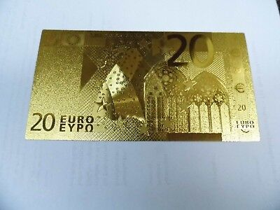 Euro Banknote 20 Euro 7X 24K Gold Plated