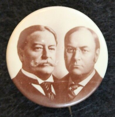 Political Pin Button - William Howard Taft & J. Sherman Campaign 1908 7/8""