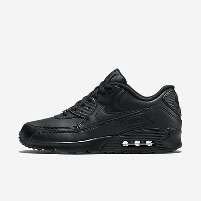 New Men's Nike Air Max 90 Leather Shoes (302519-001)  Black//Black-Black