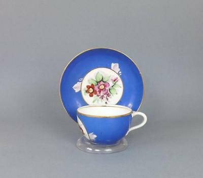 Antique Russian Porcelain Floral Cup and Saucer by Gardner factory circa 1850#4