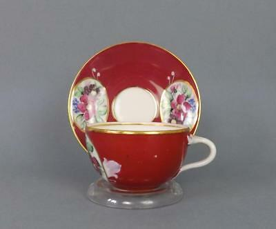 Antique Russian Porcelain Floral Cup and Saucer by Gardner factory circa 1850#5