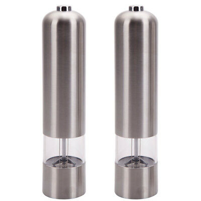 2 PCS Electric Salt Pepper Powder Mill Set Automatic Grinder Shaker Stainless US