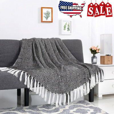Warm Cozy All Seasons Luxurious Knit Blanket Tasseled Throw Couch Cover Blanket