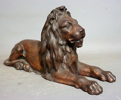 19thC Antique VICTORIAN Era CAST IRON Old BRITISH LION SCULPTURE Figural STATUE