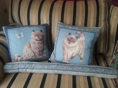 Pair of So Cute Cat Cushion COVERS with Draft Excluder Hand Made Totally Unique