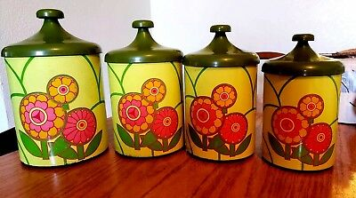 8 pc Vintage MOD Green  Flower Power Lincoln Beautyware Canister Set