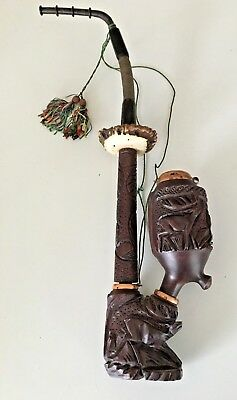 Vintage German Black Forest pipe smoking pipe Antler Carved Deer