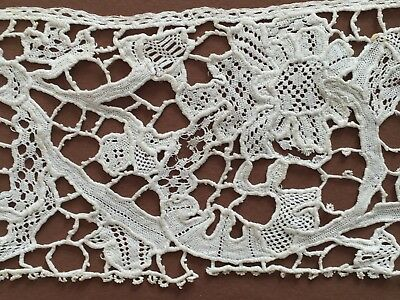 Odd flat early handmade needle lace study fragment - maybe English  COLLECTOR