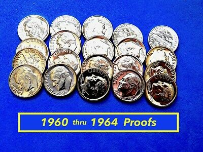 1960 -to- 1964 Proof Silver Dimes  ⭐️  Lot of Five (5) Proofs  ⭐️  (•3090)