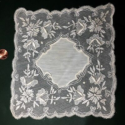 Needle run embroidered small lace handkerchief Bride Collect