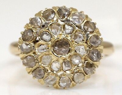 Vintage 14K Yellow Gold Ring With 0.70 Ctw Rose Cut Diamonds #l8