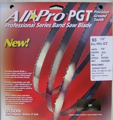 """Olson 93-1/2"""" All Pro® PGT Premium Band Saw Blades 3/8"""" x .025"""" 4 TPI Style Hook"""
