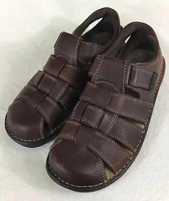 00e6093dbc0 COLEMAN Men s Brown Leather Fisherman Sandals Closed Toe Hook   Loop Size  ...
