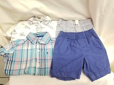 Lot Of 4 CARTE'S boys Toddler Outfits 24 Months Shorts Short Sleeve Button Down