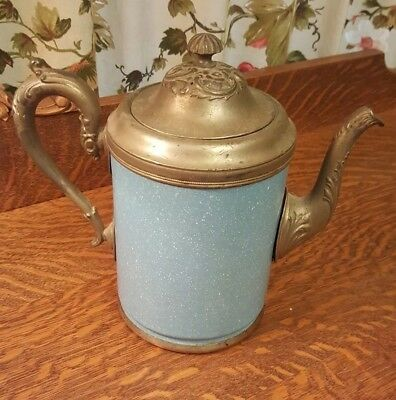 Antique Manning Bowman & Co. Pewter and Light Blue Graniteware Coffee Teapot