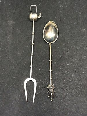 Antique Lot Of 2 Sterling Silver Teapot Olive Pick And Spoon Asian .