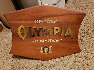 "Olympia Beer Sign ""It's the Water"" Wooden"