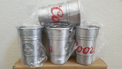 (4)COORS LIGHT ALUMINUM BEER CUPS BAR MANCAVE NFL 22 OZ ** Free Gift included **