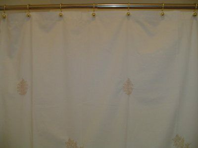 Fabric Shower Curtain With Embroidery Fern Beige Martha Stewart Pre Owned