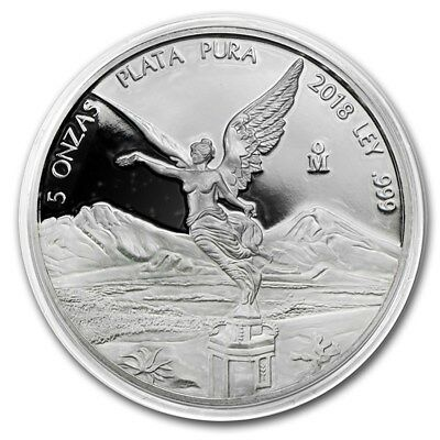 PROOF LIBERTAD - MEXICO - 2018 5 oz Proof Silver Coin in Capsule
