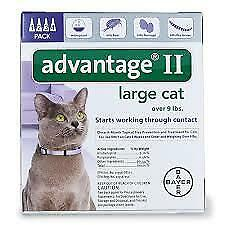 Bayer Advantage II For Large Cats, Purple, Over 9 lbs 4-Pk. US EPA approved!