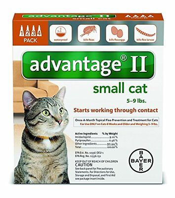 Bayer Advantage II For Small Cats, Orange, 5-9 lbs 4-Pk. USA VERSION
