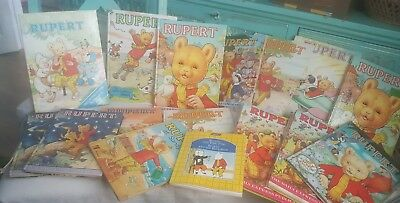 Job Lot Of 16 Vintage Rupert Bear Annuals  From 70s & 80s.