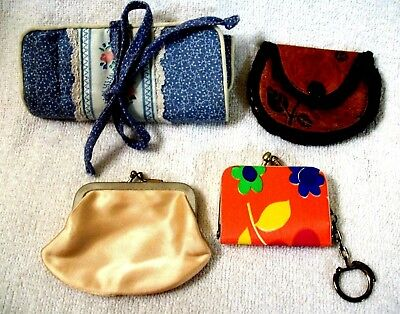 Mixed lot Coin Purses India Leather Nylon & Roll up Travel Jewelry Bag Vtg  #20