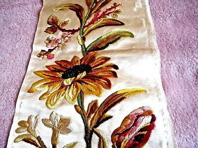 Beautiful small panel of antique hand embroidery